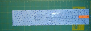 Place ruler on Jelly Roll Strip to Cut
