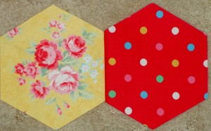 2 hexagons sewn together