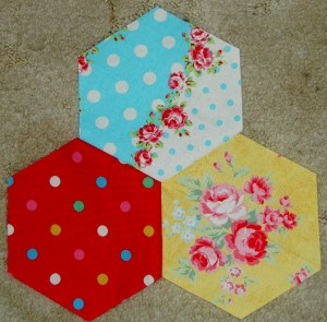 3 hexagons sewn together