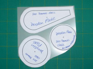 Glue paper patterns to template plastic