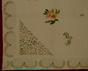 Stenciled bedcover, detail
