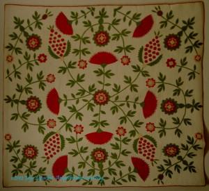 Cockscomb, Rose Tree & Pineapple Quilt, 1840