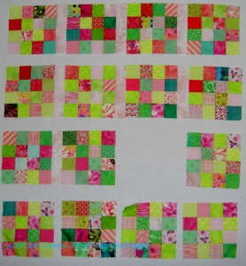 Pink & Green Donation Quilt blocks