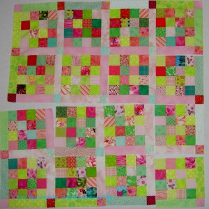 Pink & Green Donation Quilt blocks with sashing