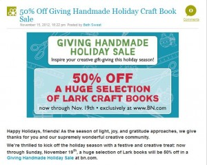 Lark Crafts Sale Thanksgiving 2012