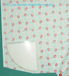 Corner template on fabric