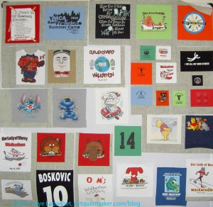 T-shirt quilt, after the weekend