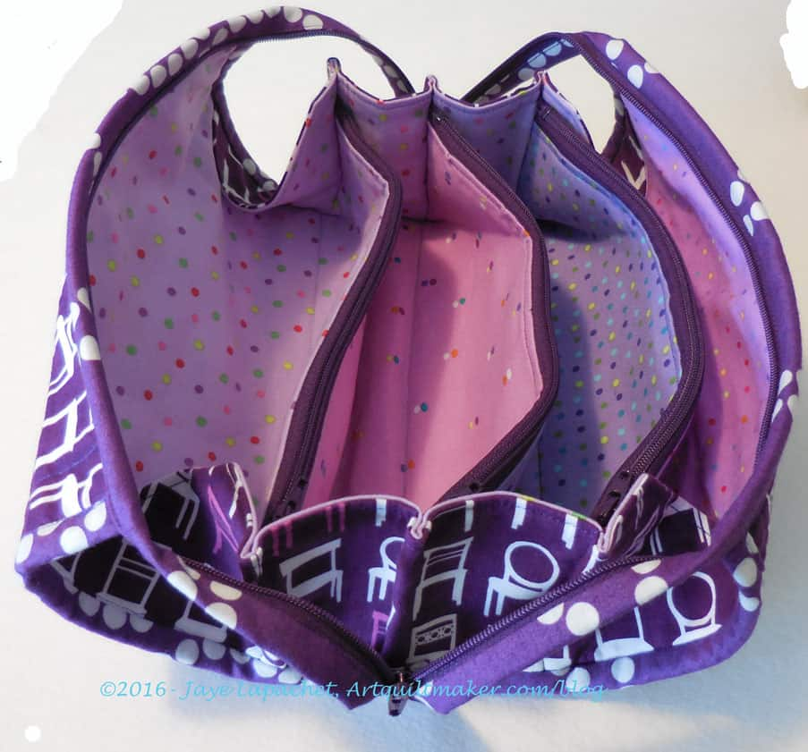 Purple Chair Sew Together for Julie Bag - open