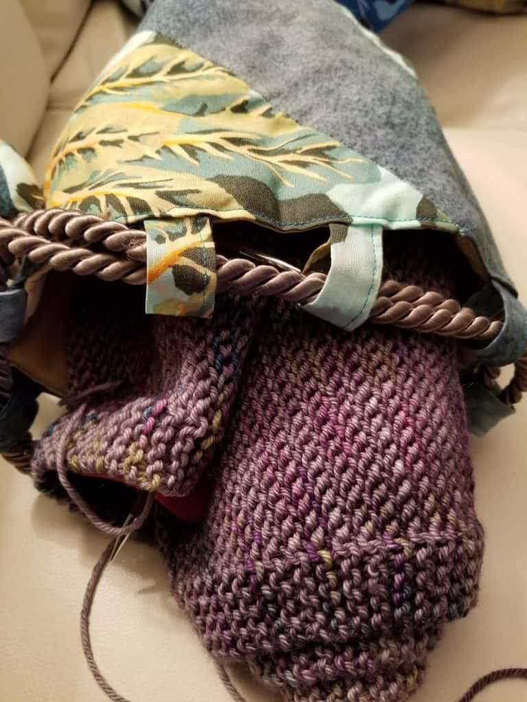 Knitting Bag with Nighthawk Scarf