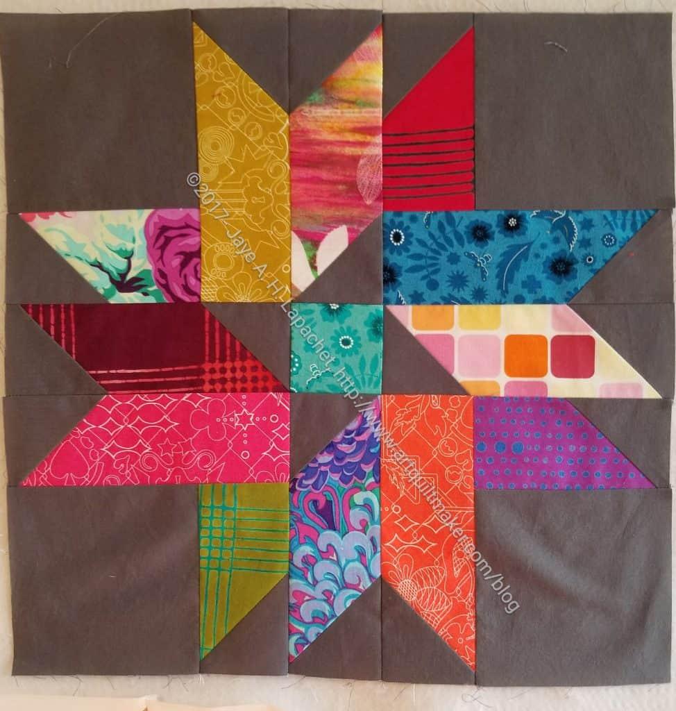 Triple Star - first block sewn