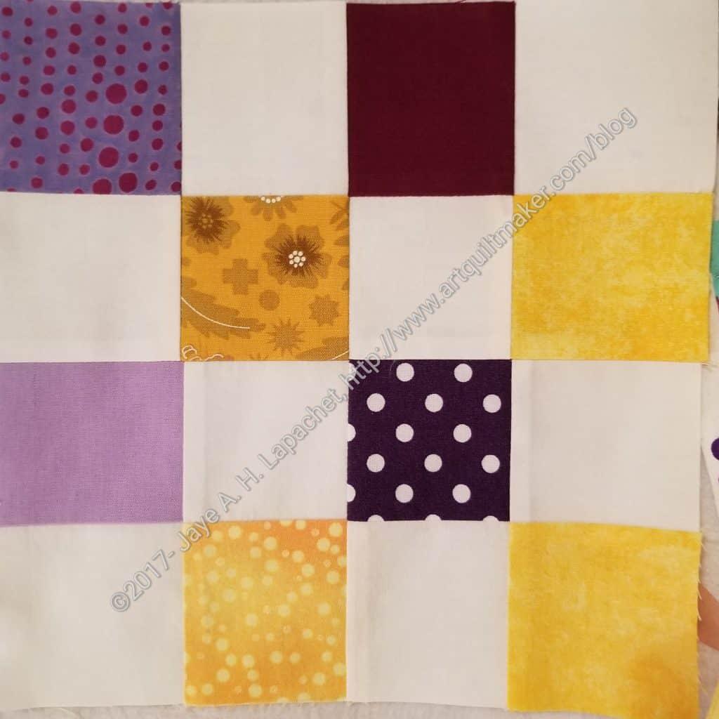 Purple and yellow donation block