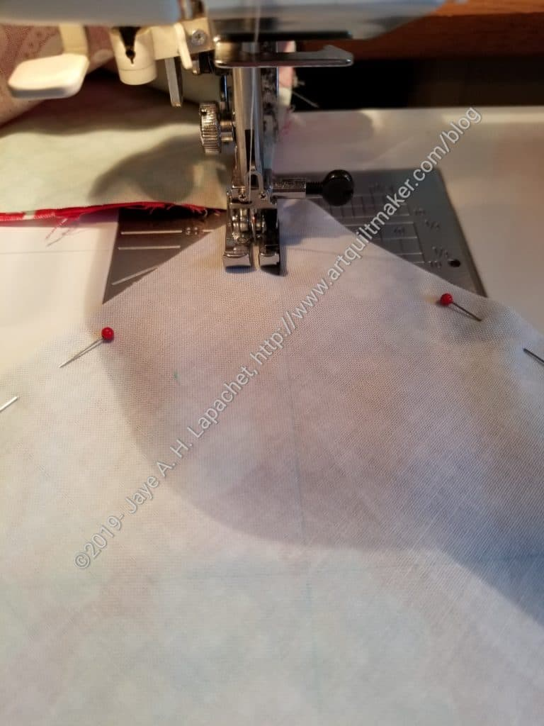 Sew on each side of the line 1/4 inch away from the line
