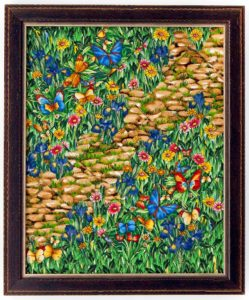 Deena Farrah Art Quilt: For Sale: Garden Path II Frame size: 8 x 10 Price: $135