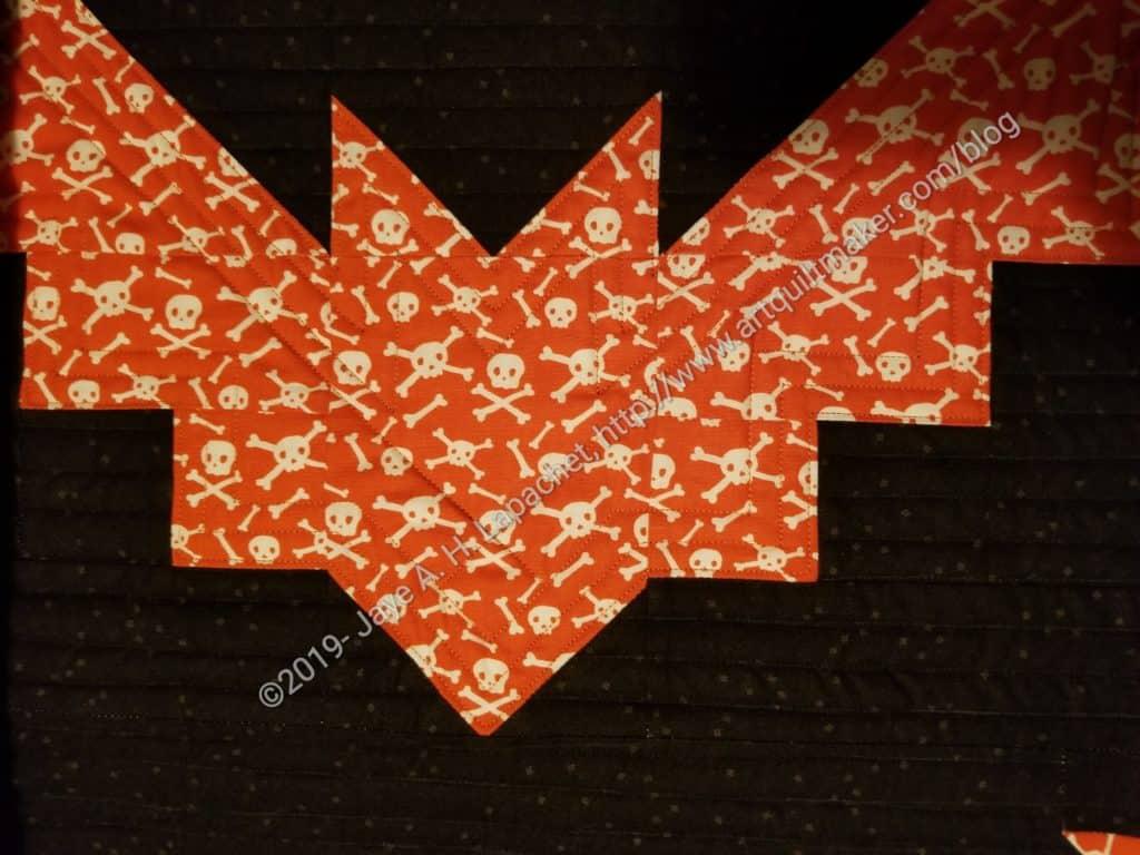 Bat tablerunner - front quilting