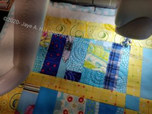 Blue Strip  quilting detail