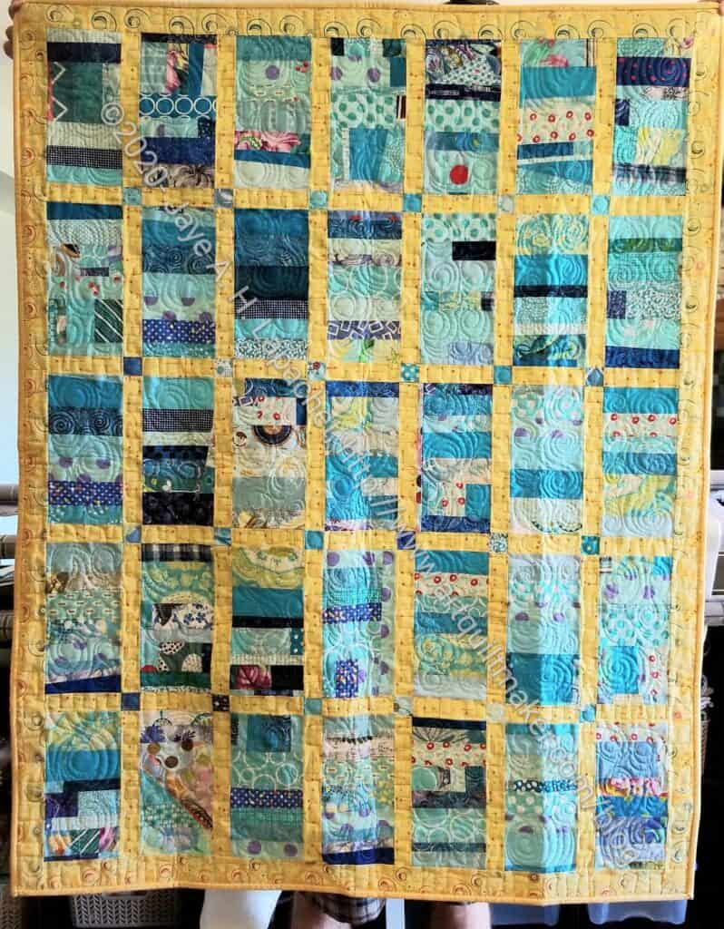Blue Strip Donation Quilt finished