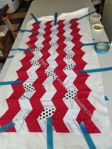 Seaside table runner - basted