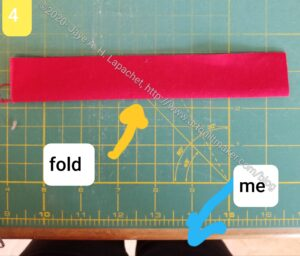 Position strip with fold near you