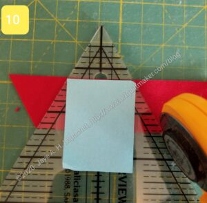 Move ruler so post-it is lined up with raw edge