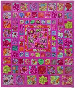 Pink Squares quilt pattern by Kaffe Fassett