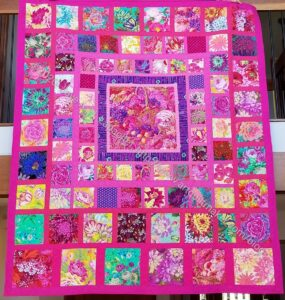 Pink Kaffe Quilt finished