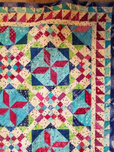 Frolic! Corner detail, quilted not bound