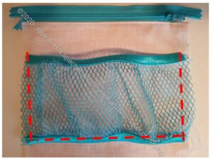 Sew around the mesh pocket
